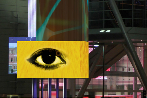 Recent alum Jennifer Mayer's 'Neural Impulse' is featured on an 80-foot multi-screen marquee at the Boston Convention and Exhibition Center.