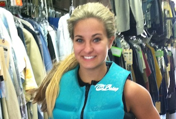 Exercise physiology major Jessica LeBlanc dons a wet suit and blond wig to stunt double for Kate Hudson in an upcoming movie.