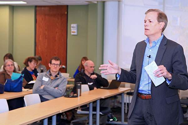 State Education Sec. James Peyser addresses attendees at the recent Computer Science Teachers Association New England Regional Conference held at Olsen Hall on North Campus.