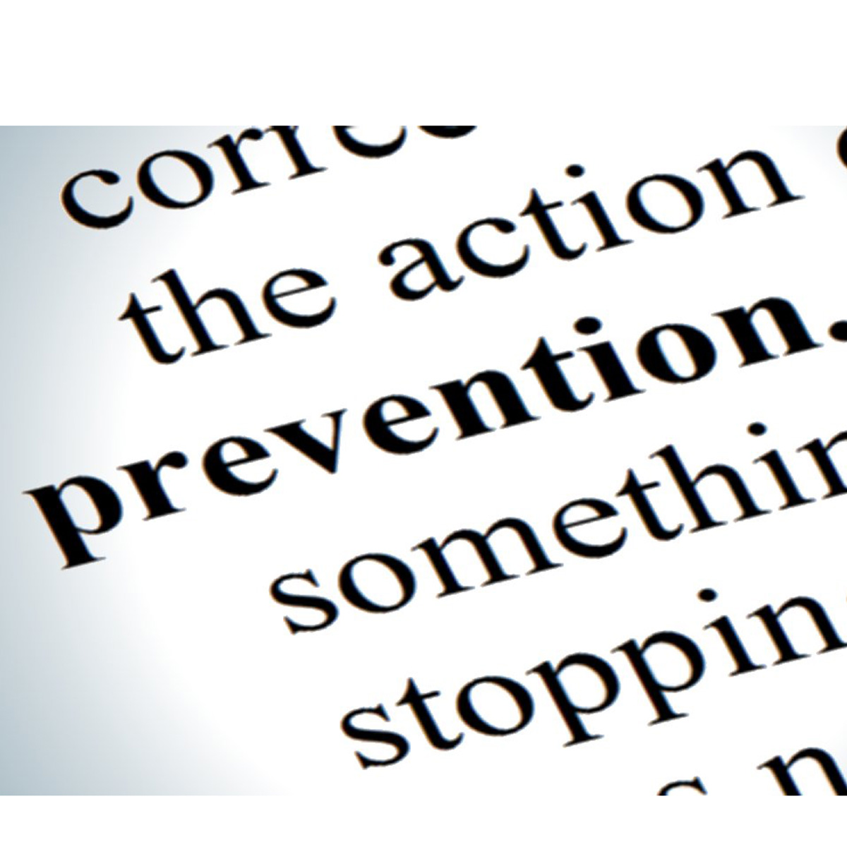 Text on a page with the word prevention bolded. JOB STRESS PREVENTION Effective interventions focus on prevention, while also addressing stress-related illnesses.