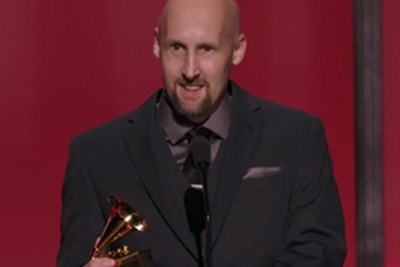 SRT alum Joel Plante with his Grammy Award