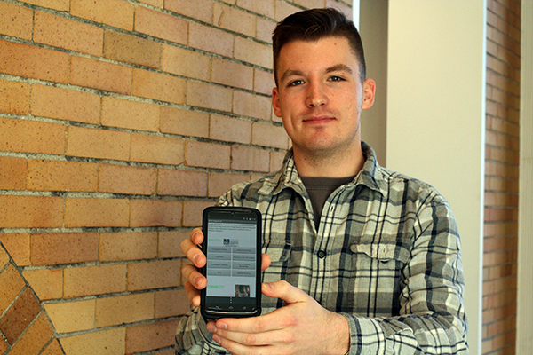 "Junior business major Joshua Bedard helped create the ""Study Break"" app using AppVis in his Business Application Development course."