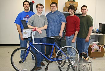 "UMass Lowell's ""JouleCycle"" team members are, from left, computer engineering sophomore Andrew Hajj, CE senior John Foley, mechanical engineering senior Mike Wetmore, ME graduate student Michael McGinley and CE senior David Cote."