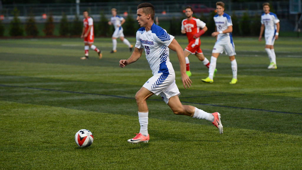 UMass Lowell men's soccer player Dario Jovanovski on the field during a game