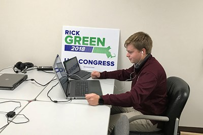 Honors political science major Justin St. Louis, at UMass Lowell, is deputy political director for Republican congressional candidate Rick Green
