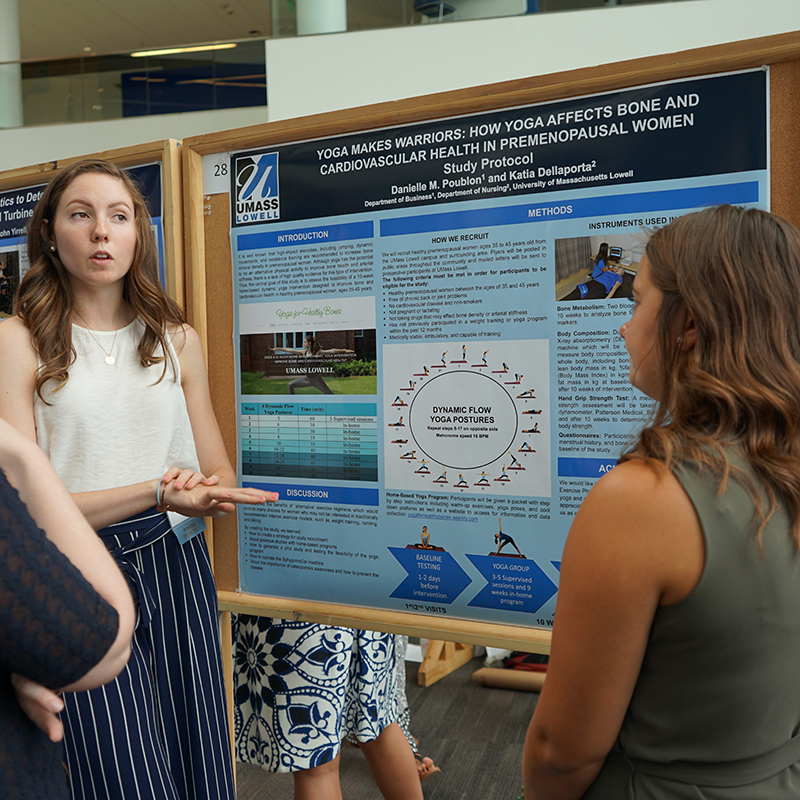 Katia and Danielle presenting their poster at a research symposium
