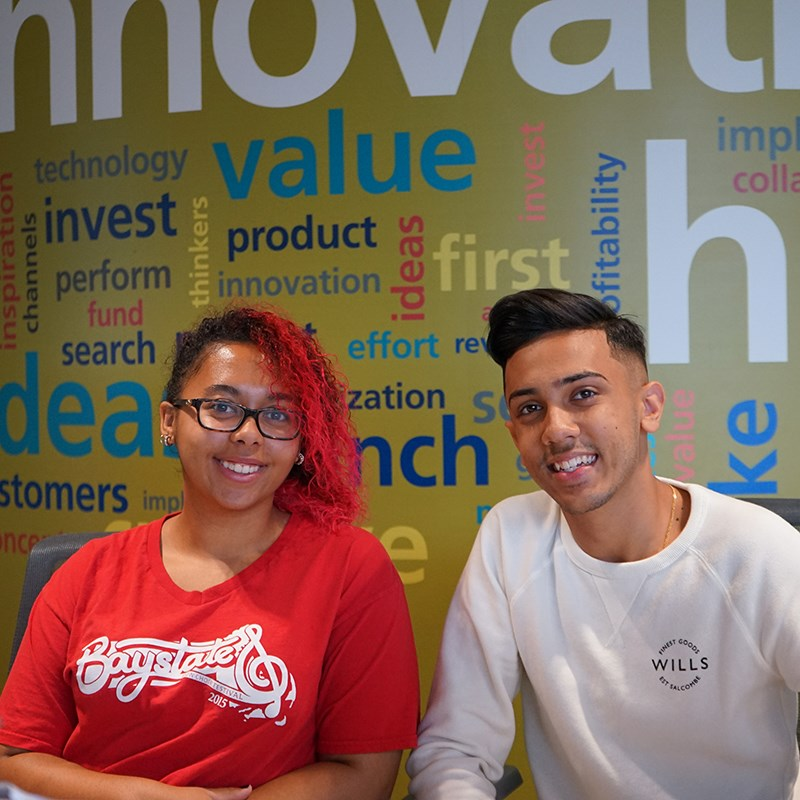 Kayla and Nik at the UMass Lowell Innovation Hub