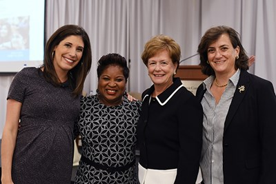 Danielle Niles, Linda M. Gadsby, Jacquie Moloney and Elizabeth Altman at the 2018 Women's Leadership Conference at UML
