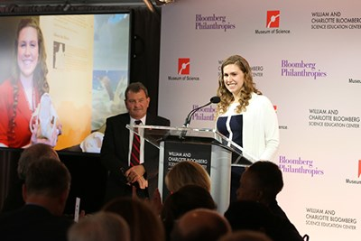 Kierra Walsh spoke at the announcement of Michael Bloomberg's $50 million gift to the Boston Museum of Science