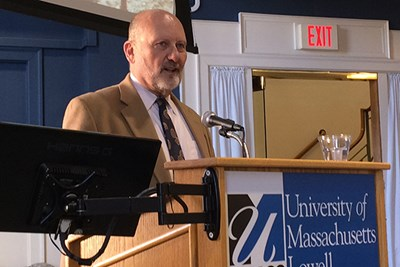 Steven Koltai speaks at UMass Lowell