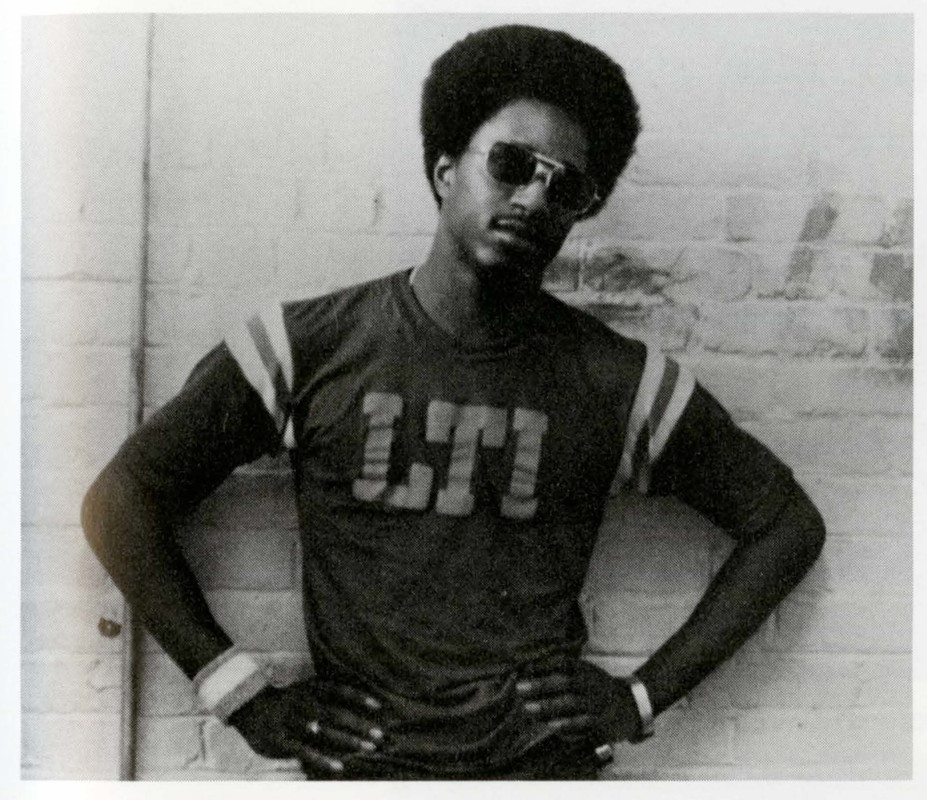 African American student with LTI shirt on in the 1960s