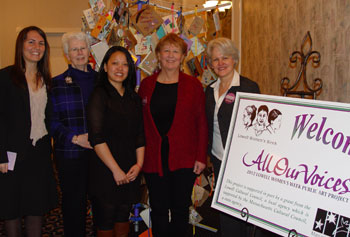 Lowell Women's Week 2012 started with a successful breakfast celebration. From left, master of ceremonies Allegra Williams '09, professor emerita Anne Mulvey, Because of Her award winner Molyka Tieng '00, Susan Kapuscinski Gaylord and the Irene Egan, in front of a public art display by Gaylord.