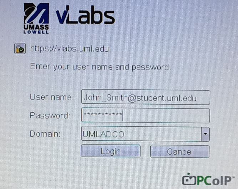 Enter student e-mail address and password for the username and password fields, then ignore the domain field and click login