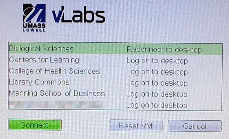 In order to reconnect to the session you disconnected from, select the lab you want to connect to and you will see Reconnect to Desktop instead of Log on to Desktop in the list of your labs that your account is entitled to