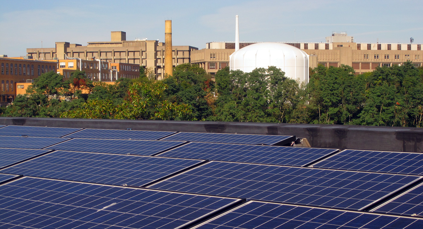 Solar panels atop Leitch Hall.