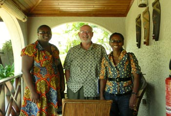 Prof. Emeritus Alan Lincoln worked with administrators of Ashesi University on a Fulbright Specialist grant, including Asst. Dean of Students Salome Okoh, left, and Dean of Student Adzo Ashie (an alumna of UMass Amherst).