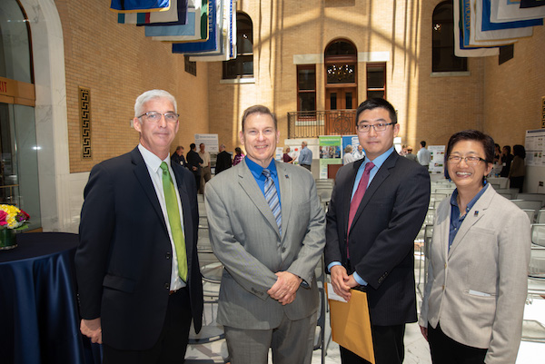 Tim Cunniff of Little Leaf Farms with UMass Lowell Provost Michael Vayda, Asst. Prof. Boce Zhang and Vice Chancellor of Research and Innovation Julie Chen at the State House for the TURI Champions of Toxics Use Reduction Award ceremony.