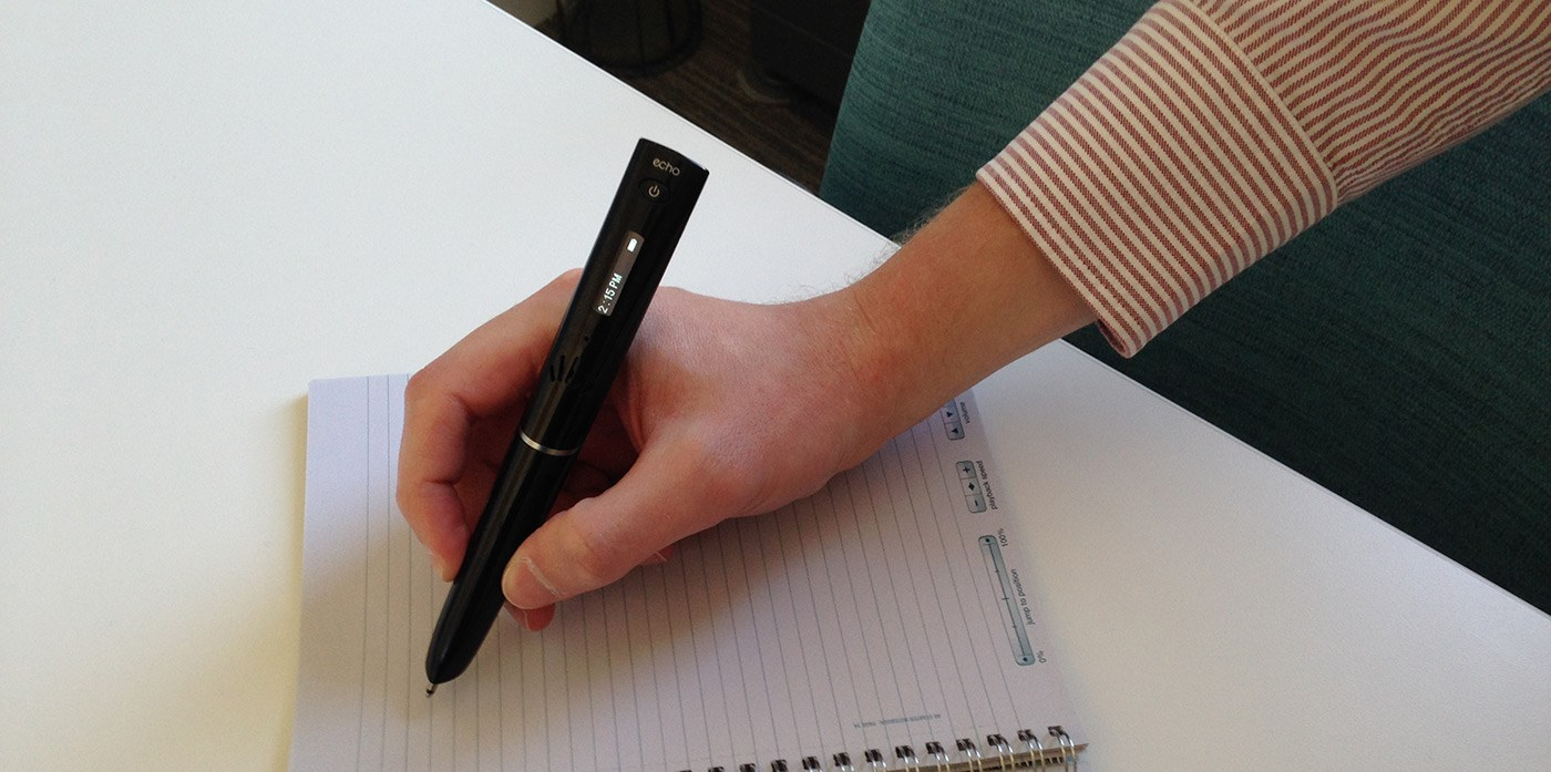 While you're writing, your smart pen is remembering–linking everything you hear to everything you write. Later, simply tap on your notes to replay the recording.