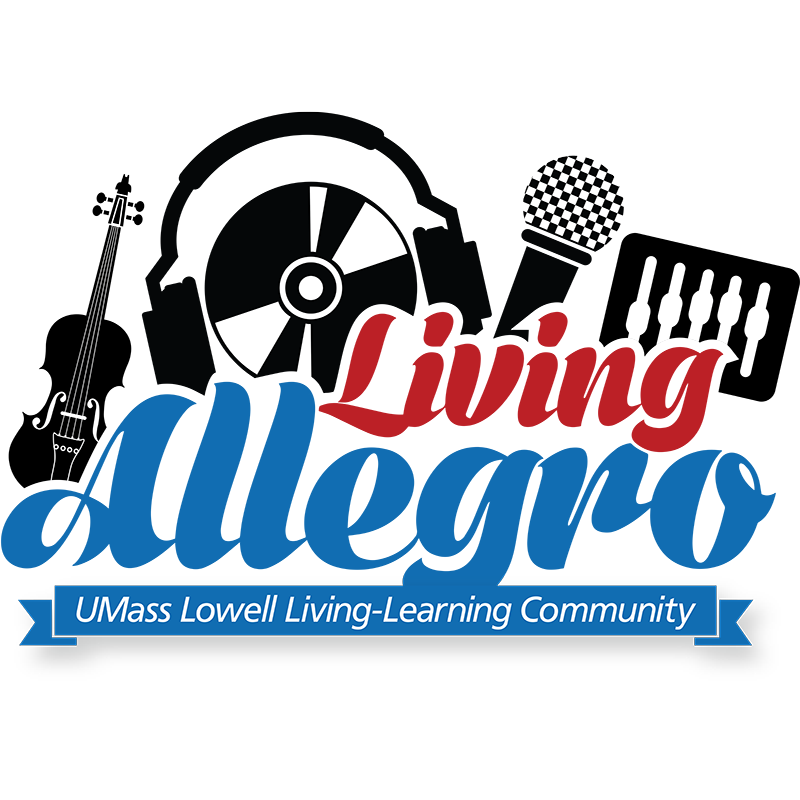 Living Allegro LLC logo. The Living Allegro LLC is designed to prepare today's students to become tomorrow's musicians. Providing viable career training within the changing musical landscape of the 21st century, this LLC is for first-year students who share a passion for music. Our goal is to create an environment that is highly collaborative, expressive and inclusive. With a focus on preparing students to find meaningful careers within the various aspects of music (performance, music business, sound recording technology, music studies, etc.), this LLC is supported by a faculty advisor from the Music Department who works to provide programming opportunities that highlight cultural immersion and academic success.