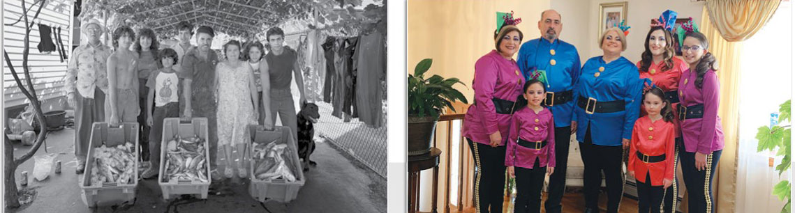 Photo side-by-side black and white and color of 2 Portuguese families. Part of Looking Back, Looking Forward: Continuity and Change in Greater Boston's Portuguese-American Community—a Colloquium