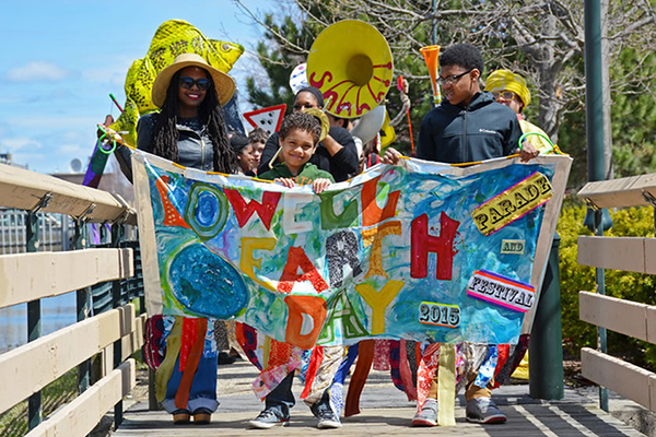 Youngsters march in 2015 Lowell Earth Day Parade