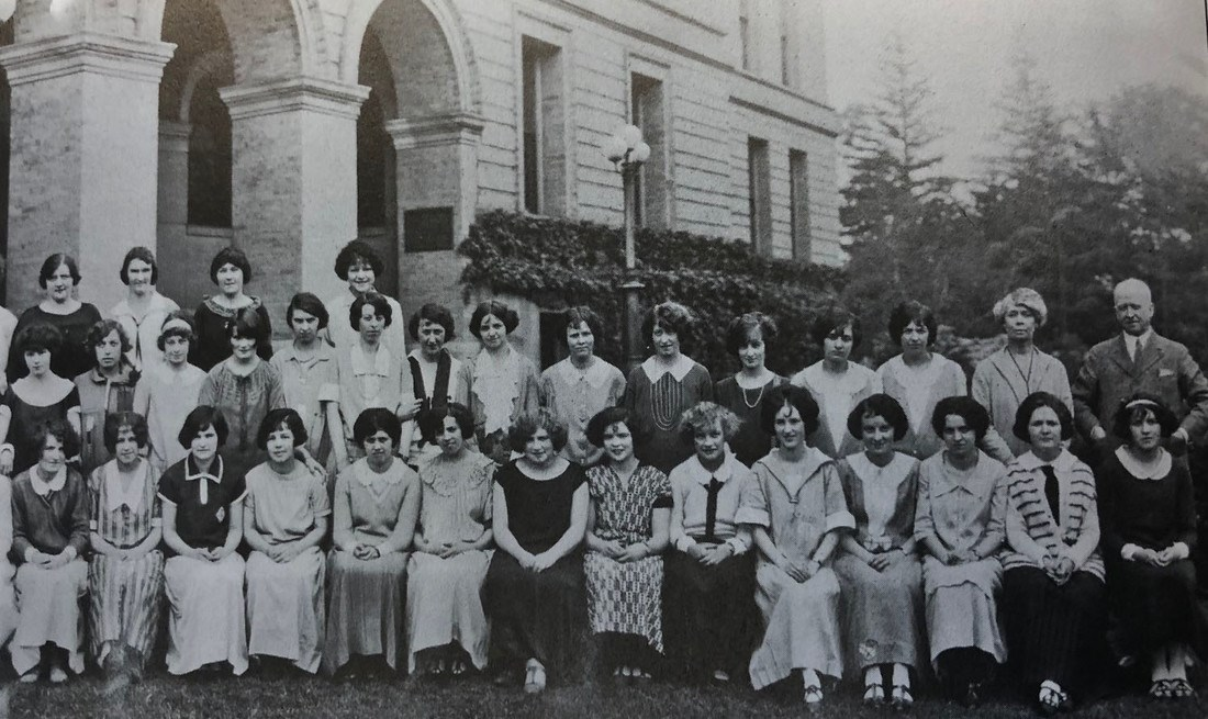 The Normal School's class of 1924 posed for a photo outside what is now Coburn Hall