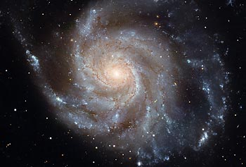 The face-on spiral galaxy M101 in Ursa Major, shown in this photo taken by the Hubble Space Telescope, is the target of Asst. Prof. Timothy Cook's rocket experiment in November.