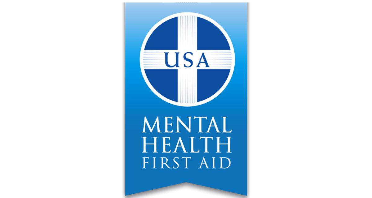 USA Mental Health First Aid logo. Mental Health First Aid is a national program to teach the skills to respond to the signs of mental illness and substance use.