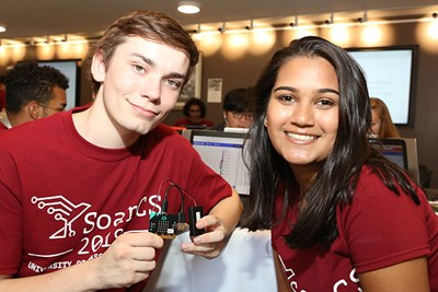 SoarCS students with micro:bit processor