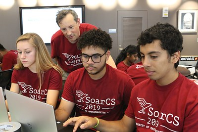 Prof. Fred Martin with SoarCS students