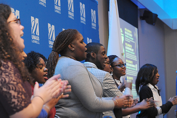 The UMass Lowell Gospel Choir sings a rousing spiritual at the annual Martin Luther King Jr. dinner.