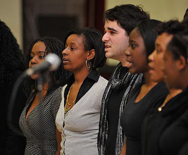 Umass Lowell Choir group, preforming a choir at an event.