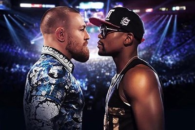 Conor McGregor and Floyd Mayweather stand nose to nose