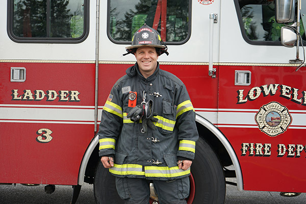 Lowell firefighter David Provencher expects to be the first graduate of the new Master of Public Administration program.