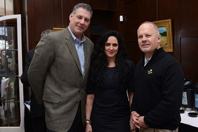 Middlesex County Sheriff Peter Koutoujian; Elizabeth Cerda, administrative attorney in the Massachusetts District Court Department; and Ken Lavallee, former Lowell Police superintendent, at the launch event.