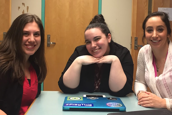 From left, Brie Parent, Bridget O'Brien and Kirstin Alfonso in the Lowell High School library, where they would debrief after each day of teaching.