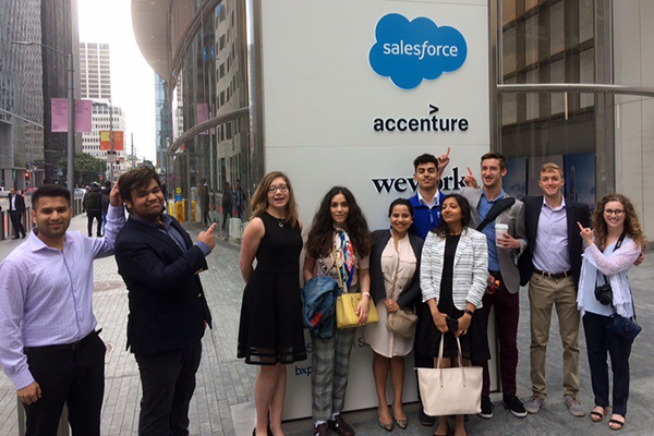 Manning School of Business students stand outside Salesforce Tower during their recent trip to San Francisco.