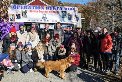 Manning students pose for a photo at the Walk and Wag fundraising event