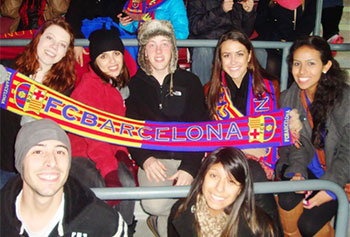 Students participating in a two-week international management study abroad program in Barcelona experienced the local passion for football.