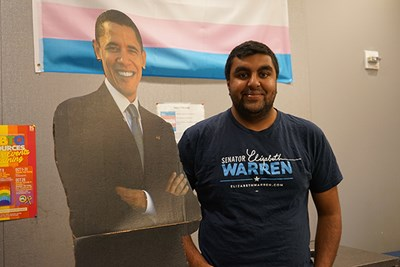 UMass Lowell economics major Mahdav Sampath is campaigning for Democrats in the 2018 midterm elections.
