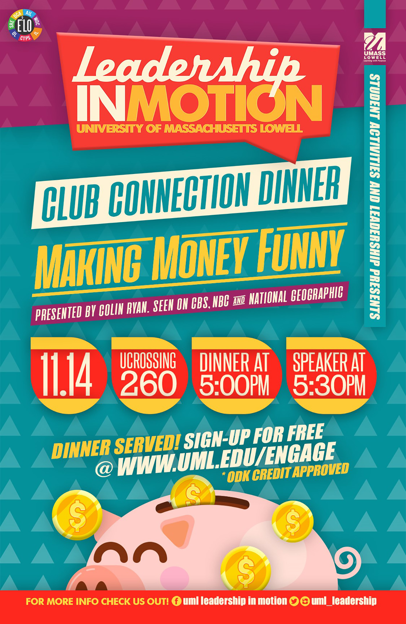 Flyer for Making Money Funny Leadership In Motion event.