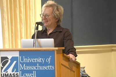 NASA scientist Pamela Conrad speaking at UMass Lowell
