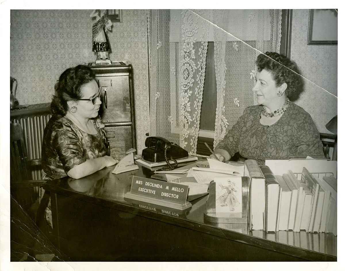Photo of Maria Coto and Deolinda Mello in 1963.  Photo Courtesy of Lowell Sun.