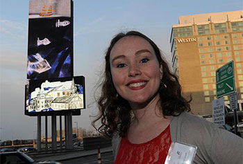 "Hannah McGrath's ""Sunken Cities"" looms on the Art on the Marquee's 80-foot screen at the Boston Convention Center."