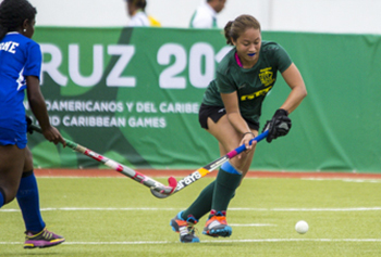 River Hawks junior back Marzana Fiedtkou plays for the Guyana national field hockey team at the 2014 Central American & Caribbean Games in Veracruz, Mexico.