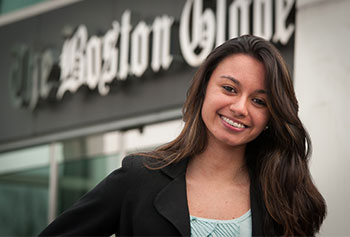 Manning School of Business junior Mayara Belasque says she is learning new skills and making professional contacts at her current co-op job at the Boston Globe.