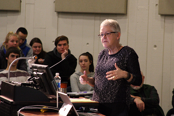 Former EPA Administrator Gina McCarthy discusses the state of the agency during a guest lecture at the O'Leary Learning Commons.