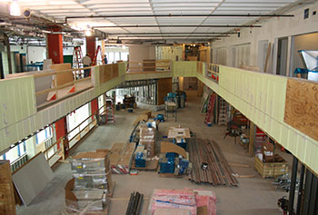 A third-floor balcony will ring the second-floor retail dining space in the fully renovated McGauvran Student Center, which is slated to reopen in January.