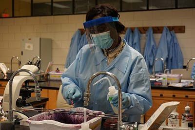 UMass Lowell medical lab science major Dannalee Watson rinses a slide she stained
