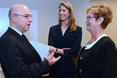 Sciences Dean Noureddine Melickechi, U.S. Rep. Lori Trahan and Chancellor Jacquie Moloney